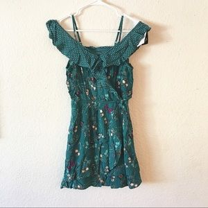 Art Class Girls Green Floral Off Shoulder Dress